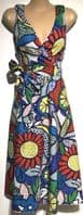 RED POPART PRINTED WRAP CHEST SWING DRESS BNWT SIZES 10-18